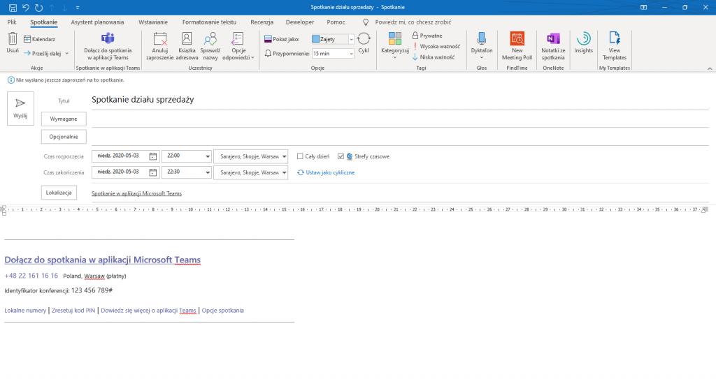 Tworzenie spotkania Teams w aplikacji Outlook
