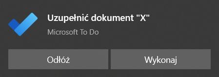 Przypomnienie z aplikacji Microsoft To Do