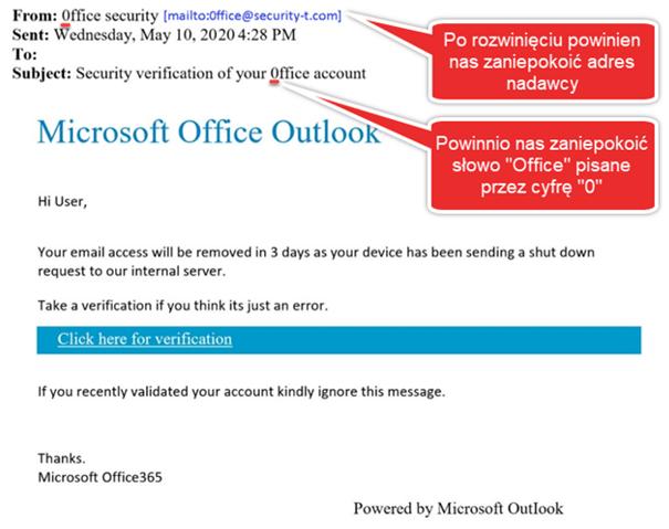 Wiadomość e-mail próbująca wyłudzić dane