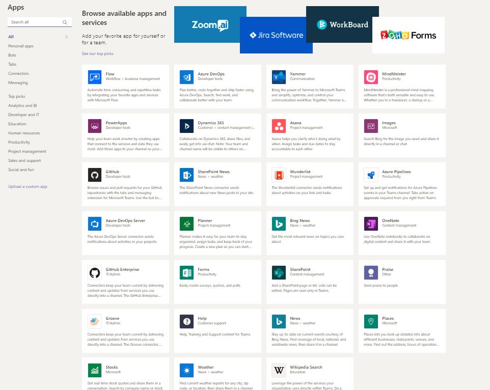 Apps Microsoft Teams